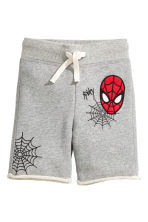 Sweatshirt shorts - Grey/Spiderman - Kids | H&M CN 2