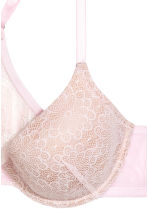 Padded lace bra - Light pink - Ladies | H&M CN 3