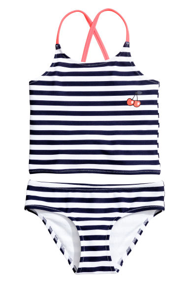 條紋坦基尼 - Dark blue/Striped - Kids | H&M