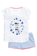 Jersey pyjamas - White/Blue -  | H&M 1