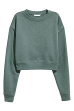 Short sweatshirt - Dark green - Ladies | H&M CN 2