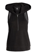 Sports top with a hood - Black - Ladies | H&M 2