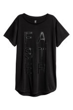 Long sports top - Black - Ladies | H&M 1
