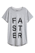 Long sports top - Light grey - Ladies | H&M 2