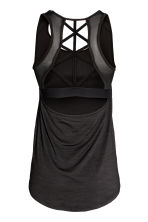 Sports top with sports bra - Black marl - Ladies | H&M CN 3