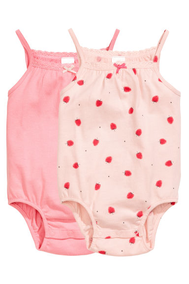 2-pack sleeveless bodysuits - Powder pink/Strawberries -  | H&M 1