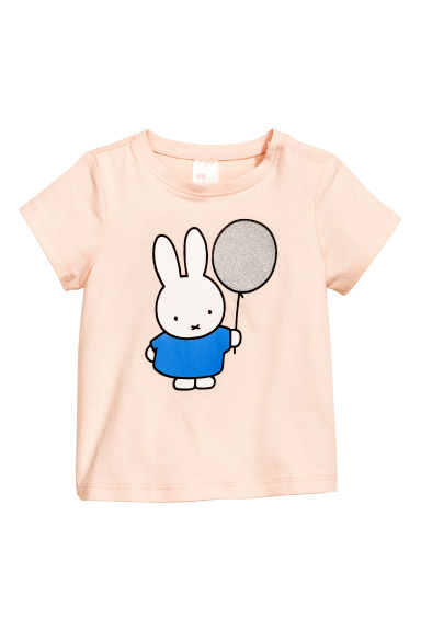 Printed top - Powder pink/Miffy - Kids | H&M 1