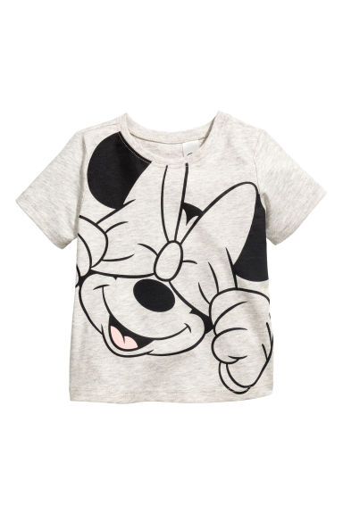 Printed top - Light grey/Minnie Mouse - Kids | H&M CN 1