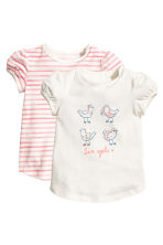 2-pack tops - Natural white/Pink/Striped - Kids | H&M 1