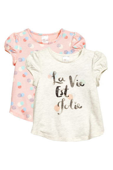 Lot de 2 tops - Rose poudré/pois -  | H&M FR