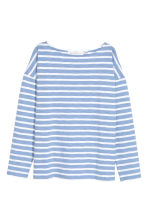 Long-sleeved top - Light blue/Striped - Ladies | H&M CN 2