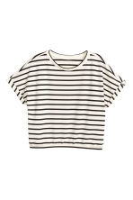 寬版上衣 - White/Black striped -  | H&M 2