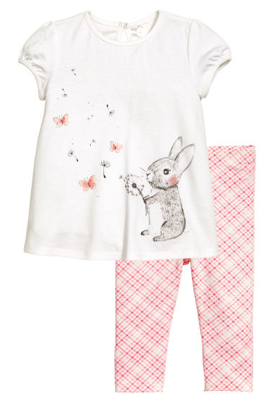 Dress and leggings - White/Rabbit - Kids | H&M 1
