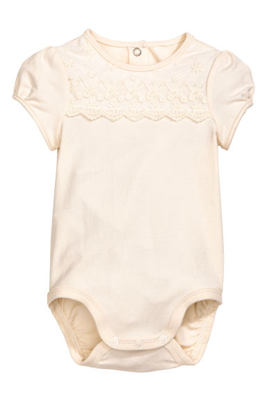 Bodysuit with a lace yoke - Natural white -  | H&M 1