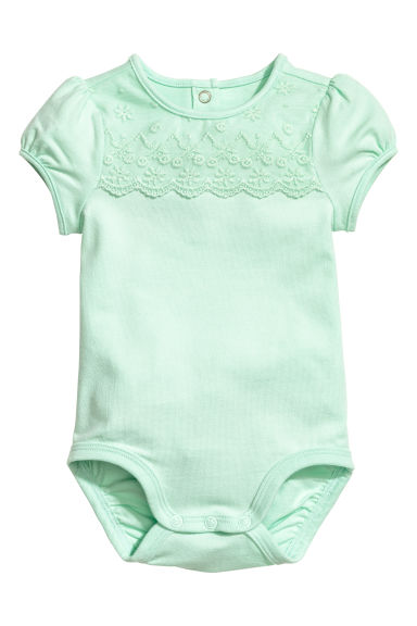 Bodysuit with a lace yoke - Light green -  | H&M 1