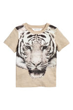 Printed T-shirt - Beige/Tiger -  | H&M 2