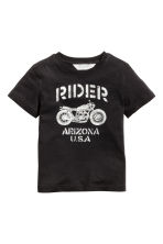 Printed T-shirt - Black/Motorcycle -  | H&M 2