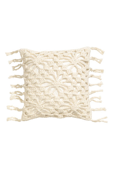 Crochet-front cushion cover - White - Home All | H&M CN
