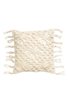 Crochet-front cushion cover