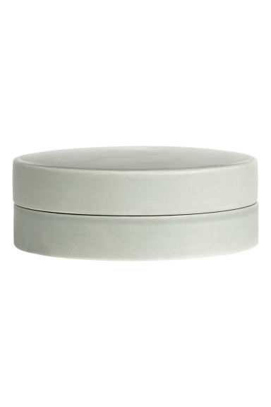 Round stoneware box - Dusky green - Home All | H&M CN