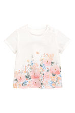 Printed top - White -  | H&M 1