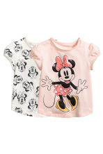 2-pack printed tops - Powder pink/Minnie Mouse - Kids | H&M 1