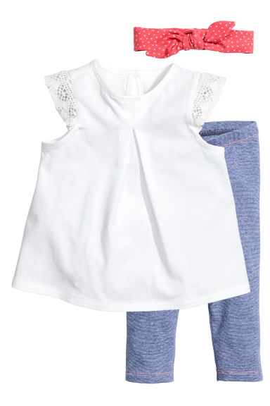 3-piece jersey set - White/Blue -  | H&M CN 1
