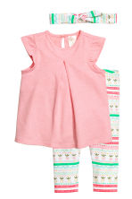 3-piece jersey set - Pink/Pineapple - Kids | H&M 1