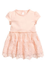 Jersey dress with lace skirt - Powder pink - Kids | H&M CN 1