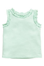 Frill-trimmed top - Mint green -  | H&M 1