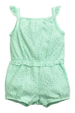 Lace romper suit - Mint green -  | H&M CN 1
