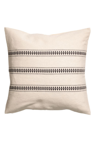 Jacquard-pattern cushion cover - Natural white/Striped -  | H&M CN 1