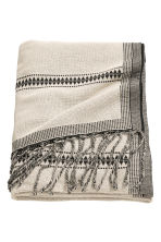 Jacquard-weave blanket - Natural white/Striped - Home All | H&M CN 1