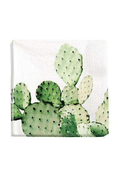 Paper napkins - White/Cactus - Home All | H&M CN