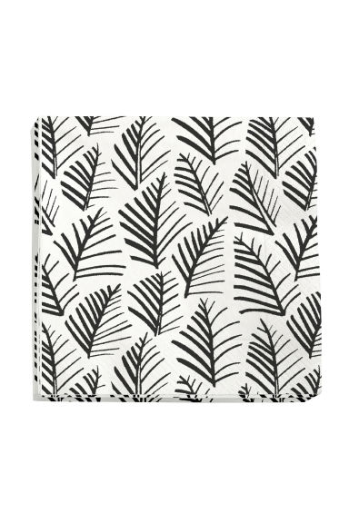 Paper napkins - White/Leaves - Home All | H&M CN