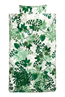 Leaf-print duvet cover set