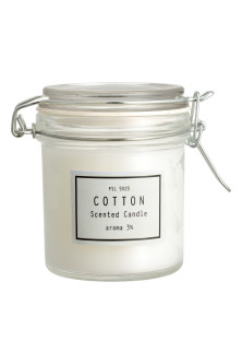 Scented candle in clip-top jar