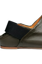 Leather slip-ons - Dark khaki green - Men | H&M 4