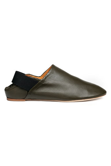 Leather slip-ons - Dark khaki green - Men | H&M 1