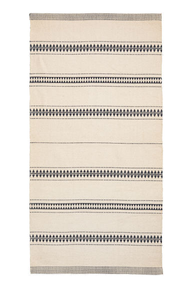 Patterned cotton rug - Natural white/Black - Home All | H&M CN 1