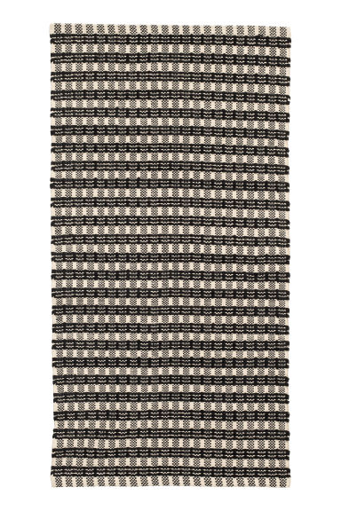 Jacquard-weave cotton rug - Natural white/Anthracite grey -  | H&M CN