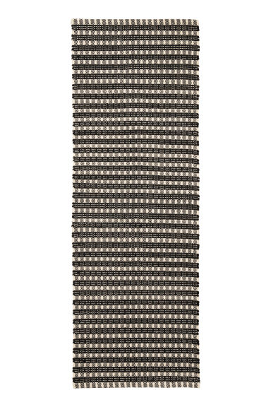 Jacquard-weave cotton rug - Natural white/Anthracite grey - Home All | H&M CN 1