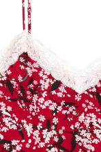 Strappy top with lace - Dark red/Floral - Ladies | H&M CN 3