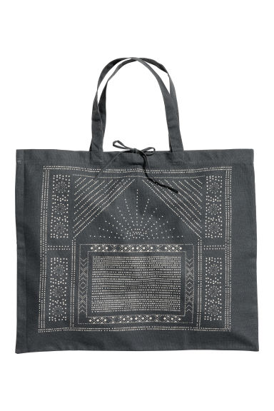Cotton canvas beach bag - Anthracite grey/Patterned - Home All | H&M CN 1