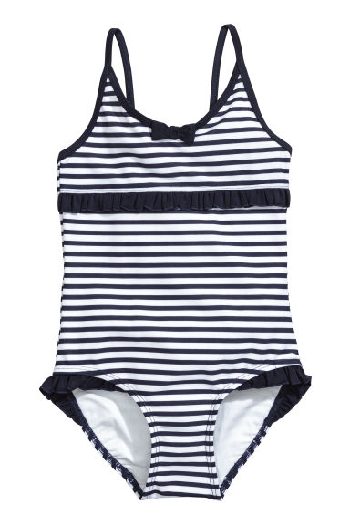 Swimsuit with frills - White/Dark blue/Striped - Kids | H&M CN 1