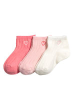 3-pack shaftless socks - Light pink - Kids | H&M 1