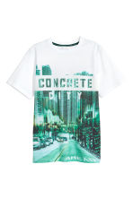 Printed T-shirt - White/City -  | H&M CN 2