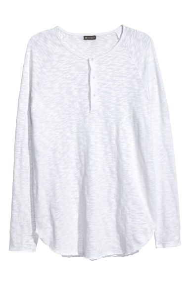 Fine-knit Henley shirt - White -  | H&M