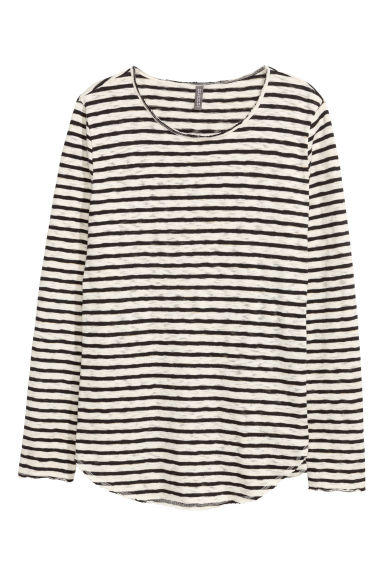 Striped cotton jumper - Natural white/Black - Men | H&M CN 1