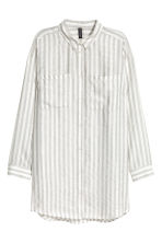 Modal-blend shirt - White/Grey striped - Ladies | H&M CN 2